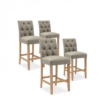 Lot de 4 chaises de bar en bois Gaya tissu Beige - H65cm