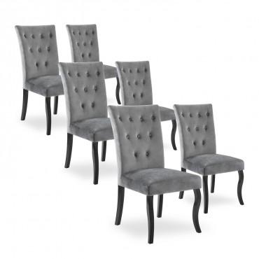 Lot de 6 chaises capitonnées Chaza velours