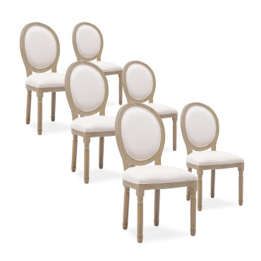 Lot de 6 chaises médaillon Louis XVI tissu Beige