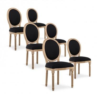Lot de 6 chaises médaillon Louis XVI tissu Noir