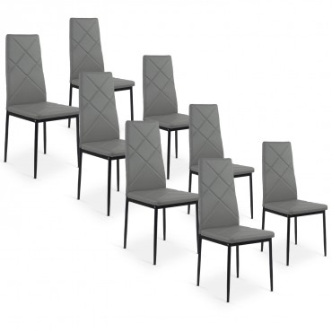 Lot de 8 chaises Paule Taupe