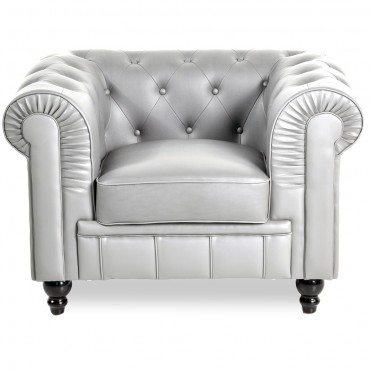 Fauteuil Chesterfield Regency Argent