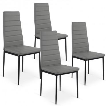 Lot de 4 chaises Strip Gris