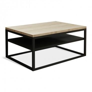 Table basse de style industriel Kate effet Chêne