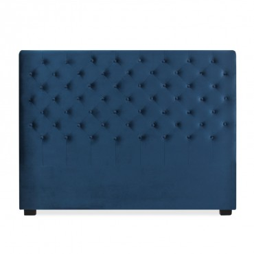 Tête de lit capitonnée Constance 160cm Velours Bleu Foncé