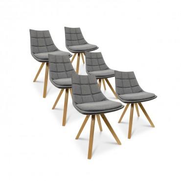 Lot de 6 chaises style scandinave Thilda tissu