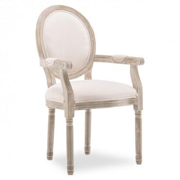 Fauteuil médaillon Louis XVI tissu