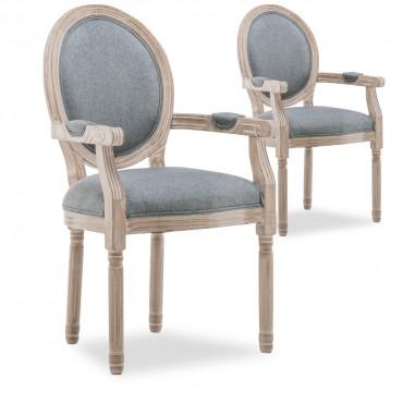 Lot de 2 fauteuils médaillon Louis XVI tissu