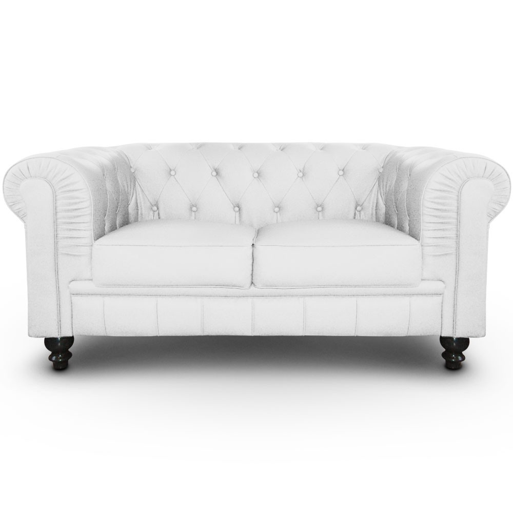 canap chesterfield 2 places regency blanc. Black Bedroom Furniture Sets. Home Design Ideas