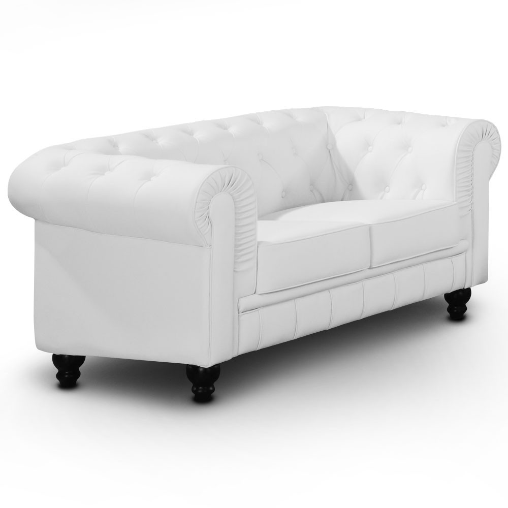 canap chesterfield 2 places regency blanc canap s. Black Bedroom Furniture Sets. Home Design Ideas
