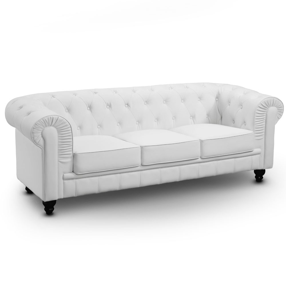 Canap chesterfield 3 places regency blanc canap s for Canape chesterfield 3 places