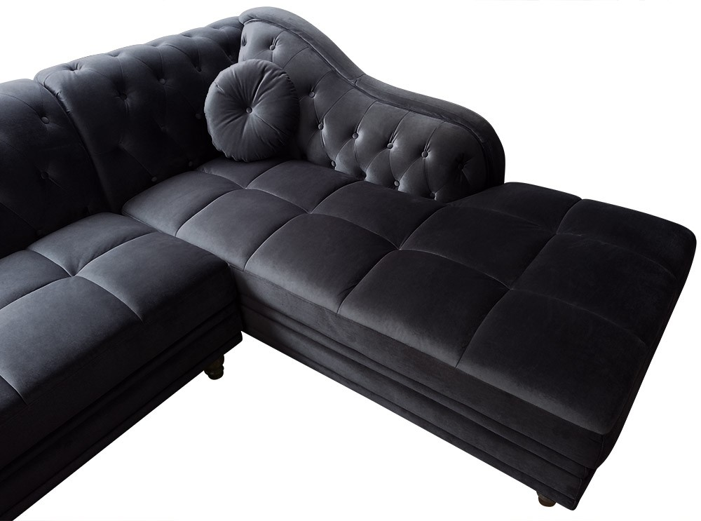 canap d 39 angle droit empire velours noir style chesterfield canap chesterfield canap. Black Bedroom Furniture Sets. Home Design Ideas