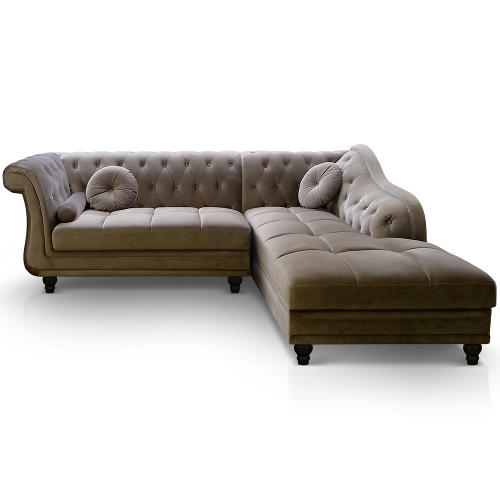 canap d 39 angle droit empire velours taupe style chesterfield. Black Bedroom Furniture Sets. Home Design Ideas