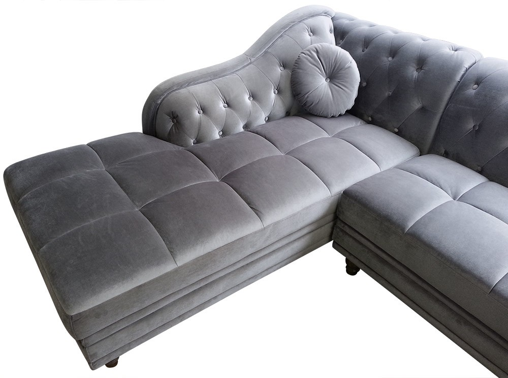 canap d 39 angle gauche empire velours argent style chesterfield. Black Bedroom Furniture Sets. Home Design Ideas