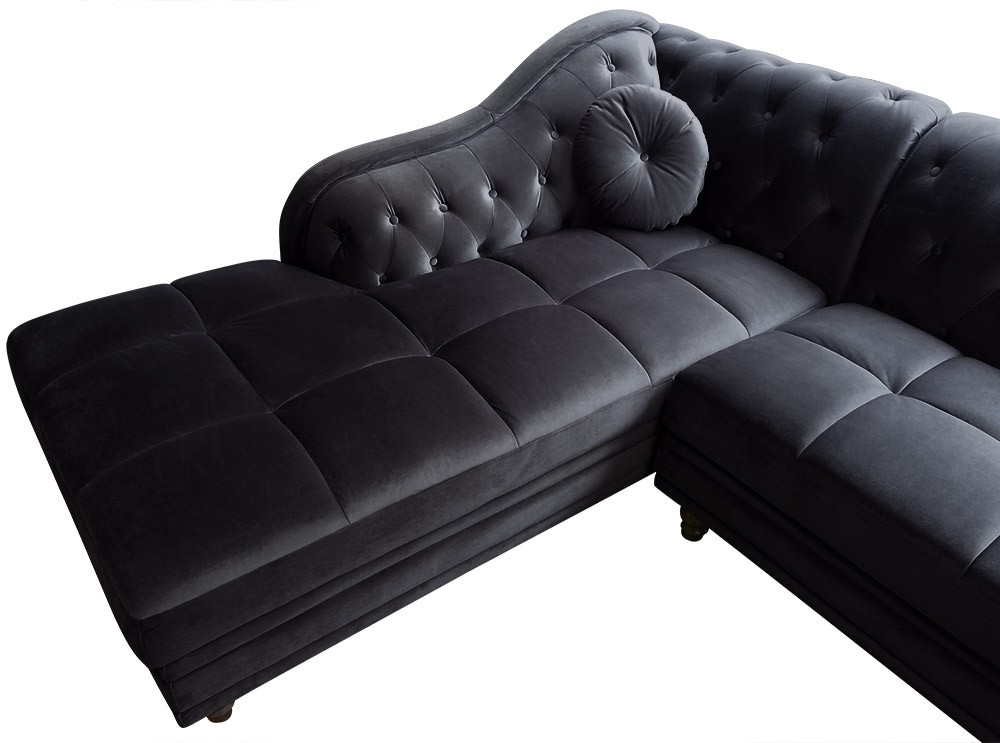 canap d 39 angle gauche empire velours noir style chesterfield canap chesterfield canap. Black Bedroom Furniture Sets. Home Design Ideas