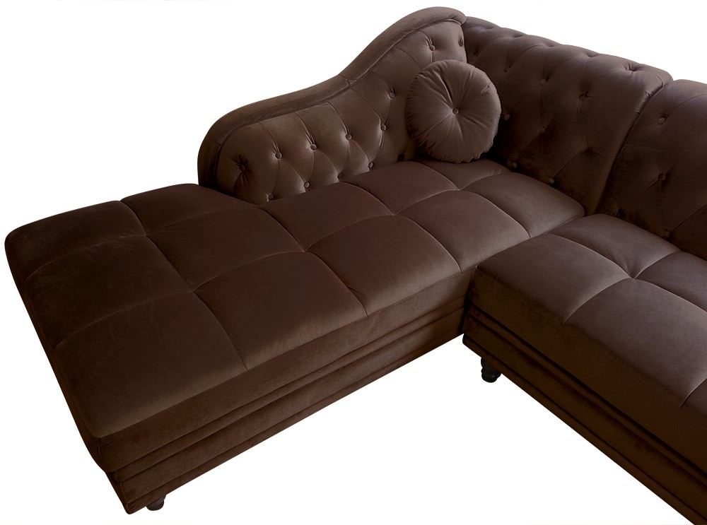 canap d 39 angle gauche empire velours marron style chesterfield. Black Bedroom Furniture Sets. Home Design Ideas