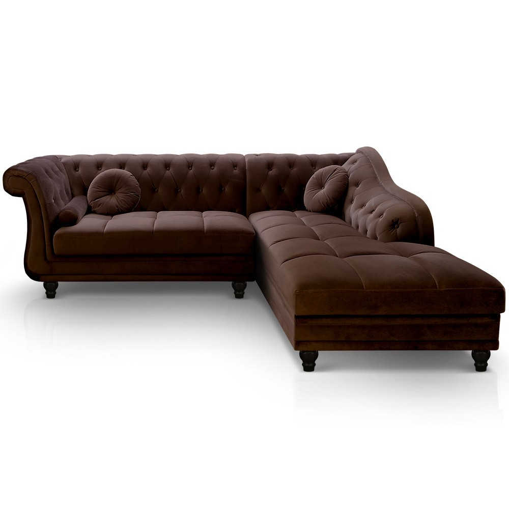 canap d 39 angle droit empire velours marron style chesterfield. Black Bedroom Furniture Sets. Home Design Ideas