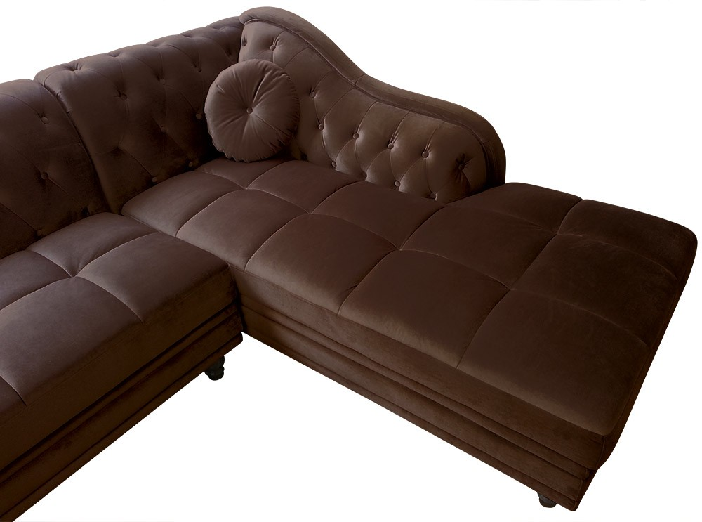 Canap d 39 angle brittish velours marron style chesterfield for Canape d angle marron chocolat