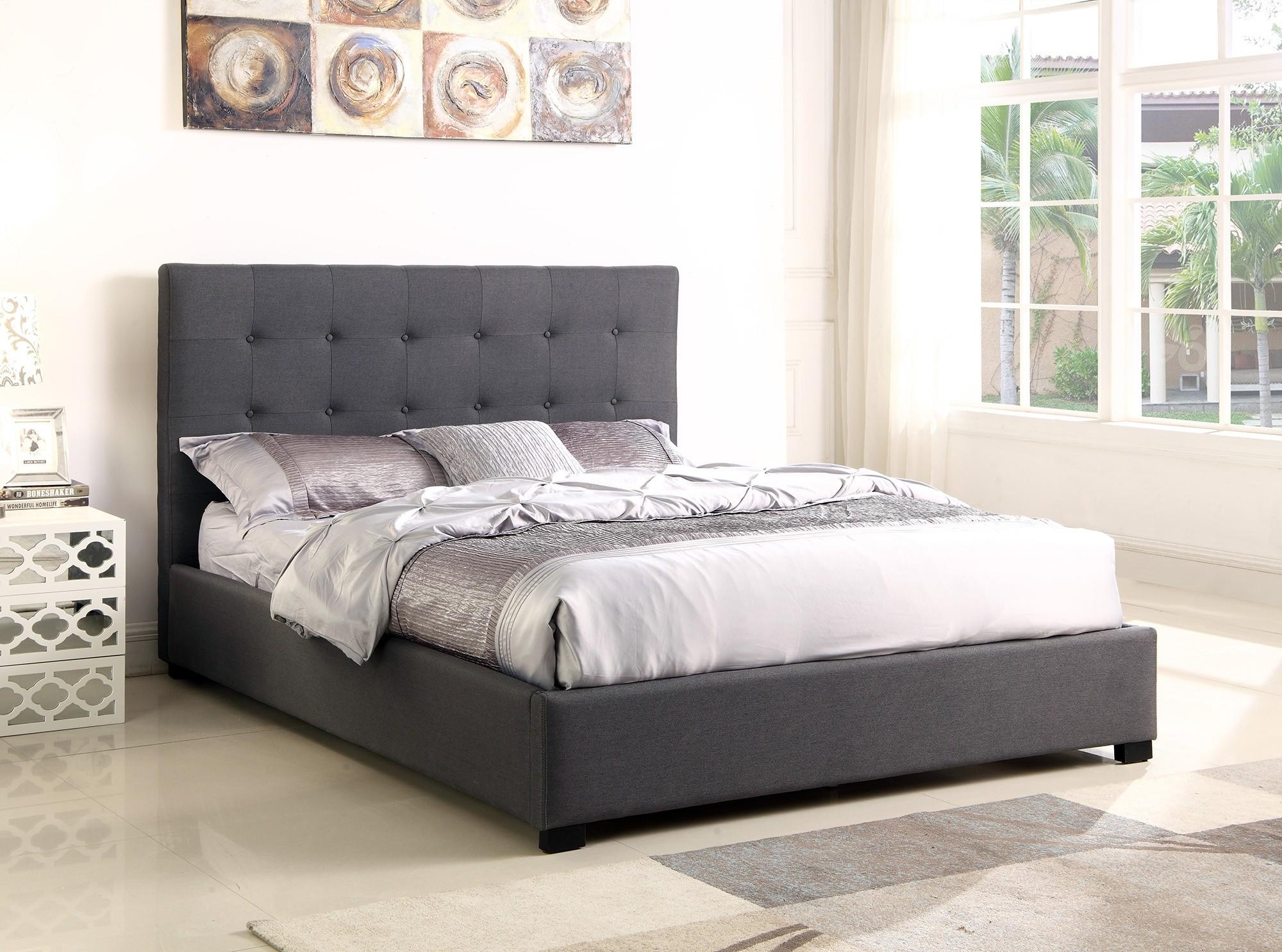 lit coffre layton sommier 140cm tissu gris lits 2 places. Black Bedroom Furniture Sets. Home Design Ideas