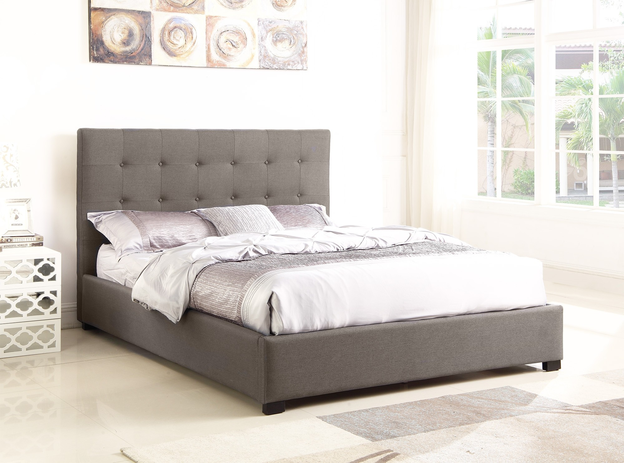 lit coffre layton sommier 160cm tissu taupe. Black Bedroom Furniture Sets. Home Design Ideas