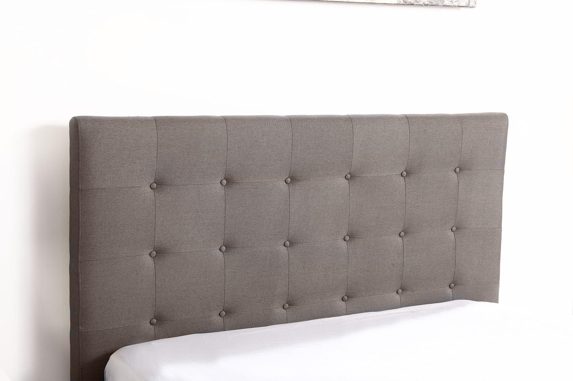 lit coffre layton sommier 160cm tissu taupe. Black Bedroom Furniture Sets. Home Design Ideas