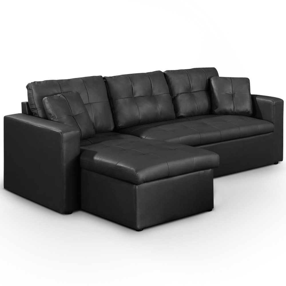 canap d 39 angle convertible cuero noir canap s d 39 angle. Black Bedroom Furniture Sets. Home Design Ideas
