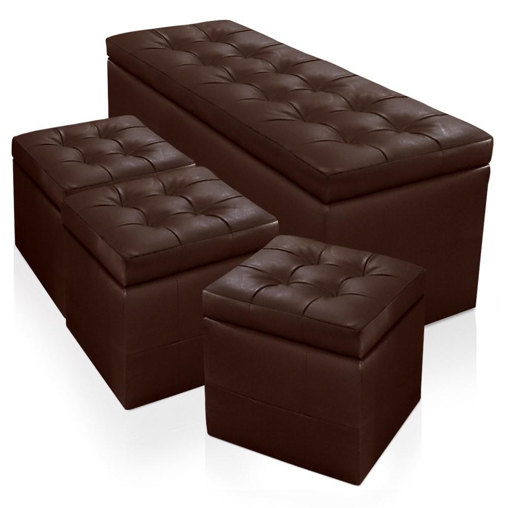 banquette coffre panky xl 3 poufs marron. Black Bedroom Furniture Sets. Home Design Ideas