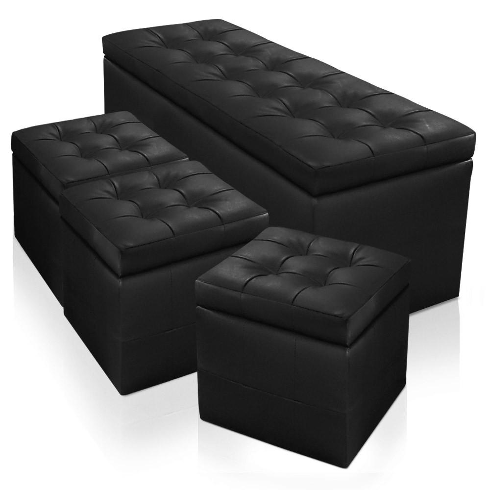 banquette coffre panky xl 3 poufs noir. Black Bedroom Furniture Sets. Home Design Ideas