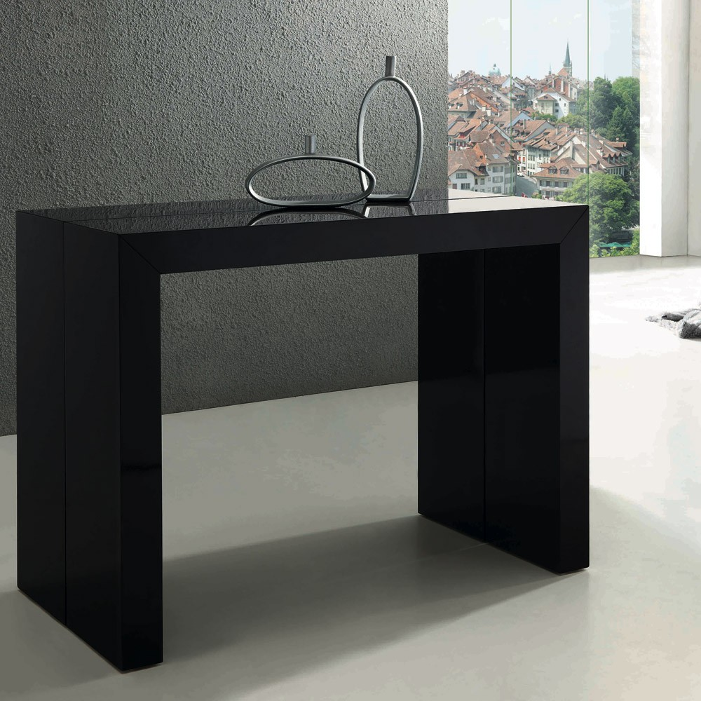 table console extensible nassau xl noir laqu e. Black Bedroom Furniture Sets. Home Design Ideas