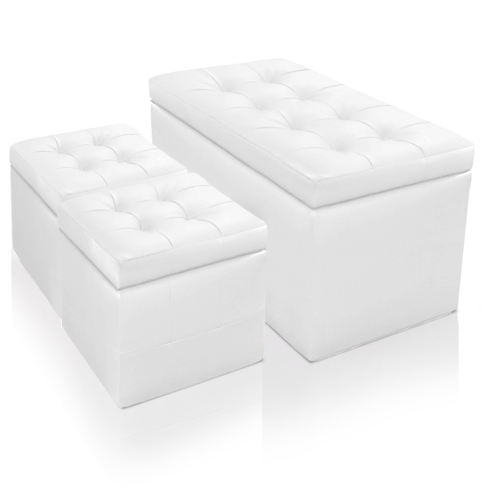 banquette coffre valence 2 poufs blanc banquettes et poufs. Black Bedroom Furniture Sets. Home Design Ideas