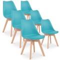 Lot de 6 chaises style scandinave Catherina Bleu Turquoise