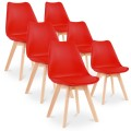 Lot de 6 chaises style scandinave Catherina Rouge