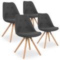 Lot de 4 chaises scandinaves Frida tissu Gris foncé