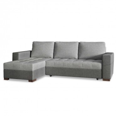 Canapé d'angle convertible réversible Alvaro Tissu gris