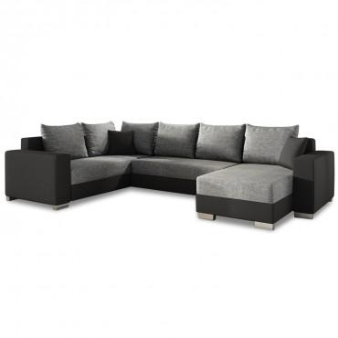 Canapé d'angle droit panoramique Octave Gris et Noir