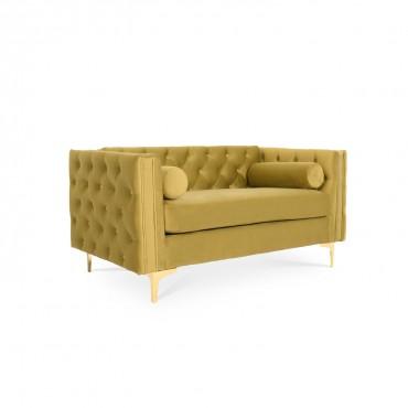 Canapé 2 places Edward Velours Jaune moutarde pieds doré