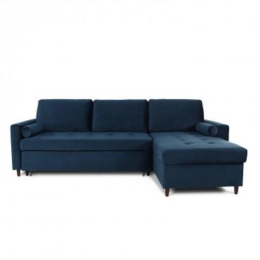 Canapé d'angle convertible réversible Claudio en velours bleu foncé