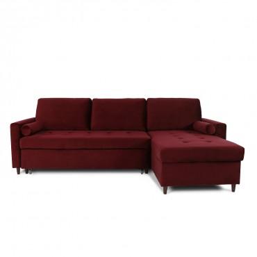 Canapé d'angle convertible réversible Claudio en velours rouge