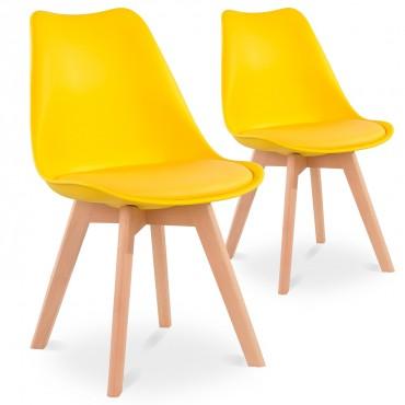 Lot de 2 chaises style scandinave Catherina Jaune