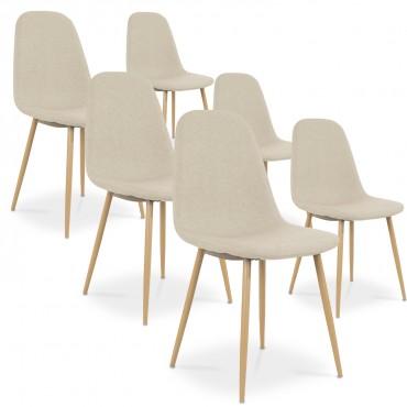 Lot de 6 chaises scandinaves Bali tissu Beige