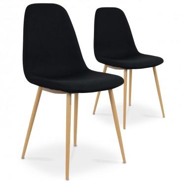 Lot de 2 chaises scandinaves Bali tissu Noir