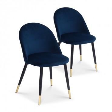 Lot de 2 chaises Bertille en velours bleu pieds noir et or