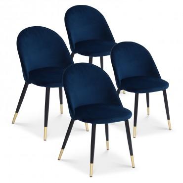 Lot de 4 chaises Bertille en velours bleu pieds noir et or