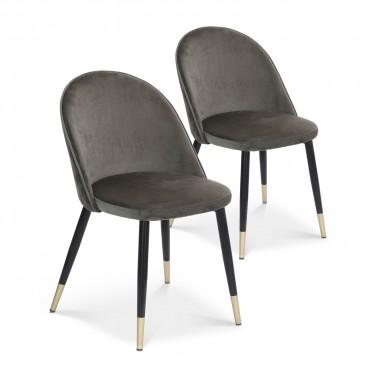 Lot de 2 chaises Bertille en velours gris pieds noir et or