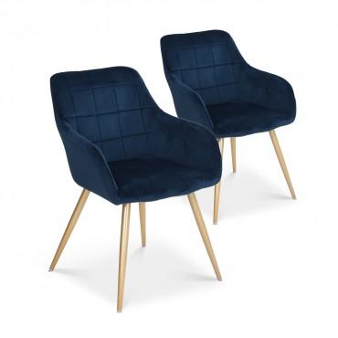 Lot de 2 chaises Noémie en velours bleu pieds or