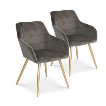 Lot de 2 chaises Noémie en velours gris pieds or