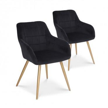 Lot de 2 chaises Noémie en velours noir pieds or