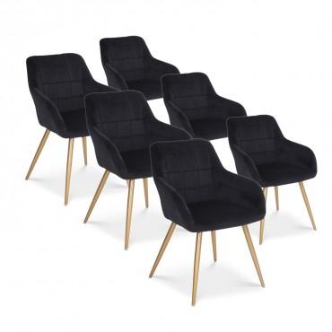 Lot de 6 chaises Noémie en velours noir pieds or