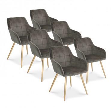 Lot de 6 chaises Noémie en velours gris pieds or