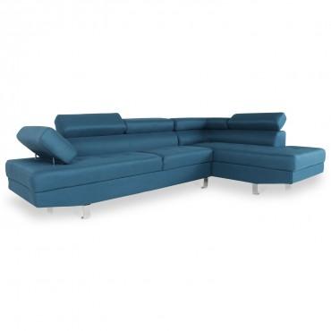 Canapé d'angle droit avec têtières relevables Charly tissu bleu canard